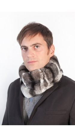 Rex chinchilla fur neck warmer - unisex