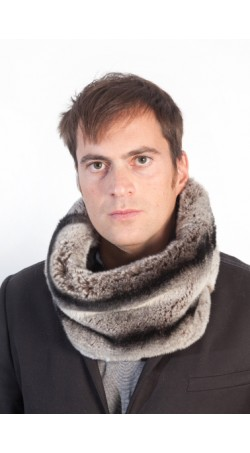 Rex chinchilla fur neck warmer - horizontal