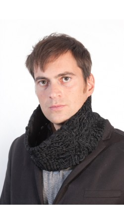 Black karakul fur neck warmer - unsiex