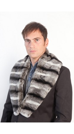 Rex chinchilla fur collar unisex