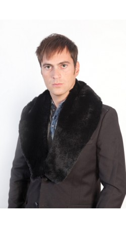 Black rex fur collar - unisex