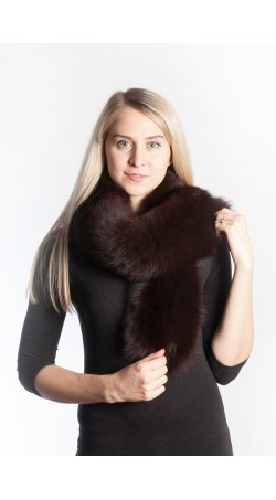 Peken dark brown fox fur scarf