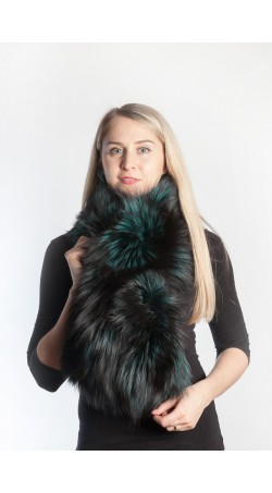 Green fox fur scarf