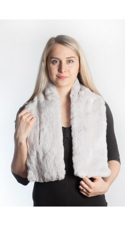 Light grey rex fur scarf