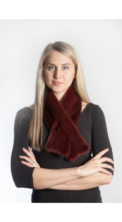 Mink fur scarf - red