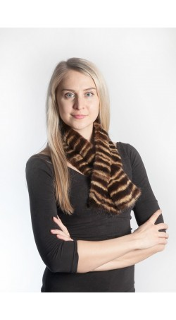 Mink fur scarf - striped
