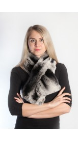 Rex fur scarf - black and grey