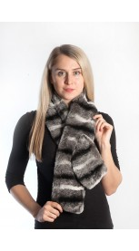 Rex Chinchilla fur scarf - striped