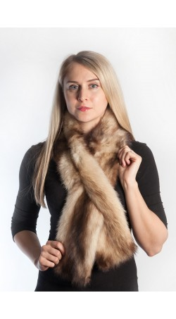 Polecat fur scarf - cream