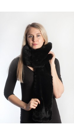 Black rex fur scarf