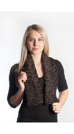 Dark brown karakul fur scarf