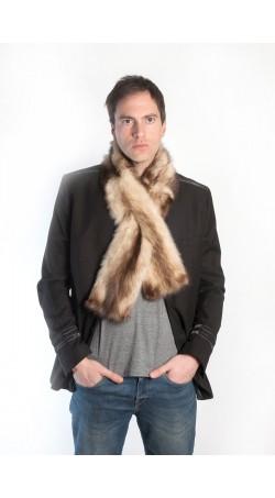 Cream polecat fur scarf - unisex