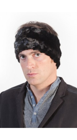Black mink fur headband unisex