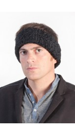 Black karakul fur headband unisex