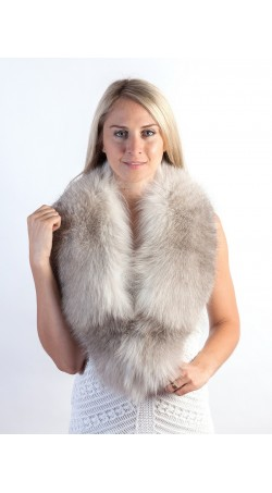 Grey fox fur collar