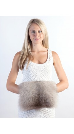 Grey fox fur hand muff