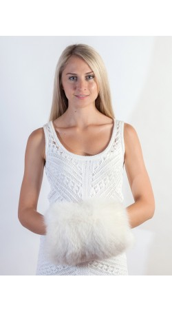 White fox fur hand muff
