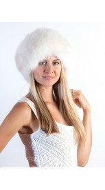 White fox fur headband - neck warmer