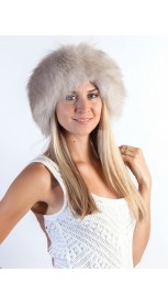 Grey fox fur headband - neck warmer