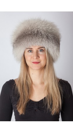 Grey fox fur hat
