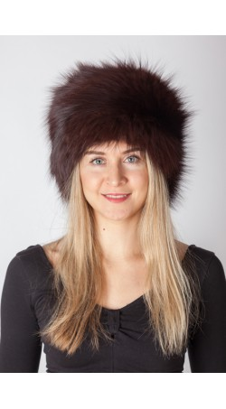 Dark brown fox fur hat