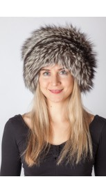 Scandinavian silver fox fur hat
