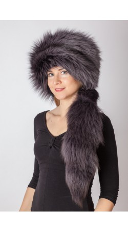 Dark blue fox fur hat with tail