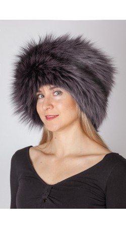 Dark blue fox fur hat