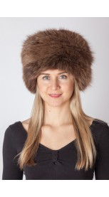 Brown fox fur hat
