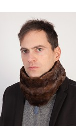 Brown mink fur neck warmer - unisex
