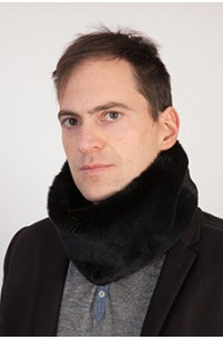 Black rex fur neck warmer - unisex