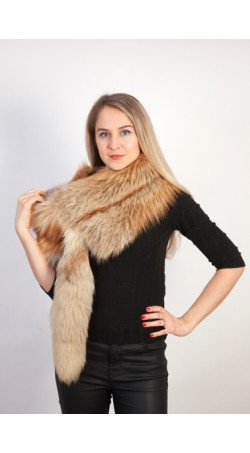 Golden fox fur scarf-collar-stole