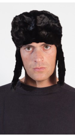 Mink fur hat for men - Russian style - Black