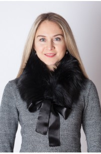 Black fox fur collar - neck warmer