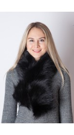 Black raccoon fur scarf