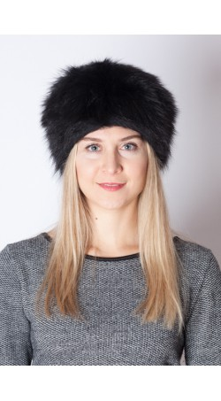 Black raccoon fur hat