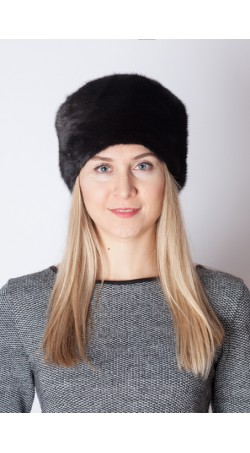 Black mink fur hat