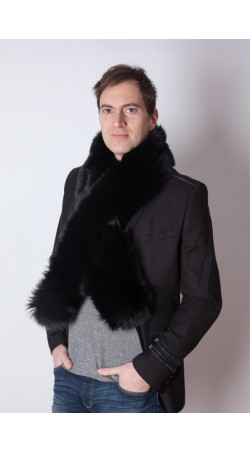 Black fox fur scarf - unisex
