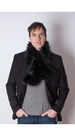 Black raccoon fur scarf - unisex