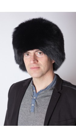 Black fox fur hat - unisex