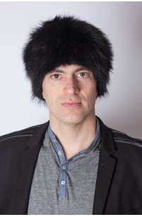 Black raccoon fur hat - unisex