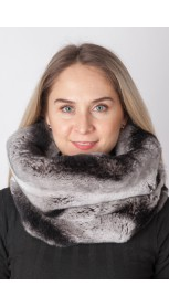 Rex rabbit fur neck warmer- Horizontal effect