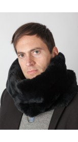 Black rex rabbit fur neck warmer