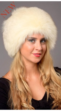 Greenland White-Cream Fox Fur Hat