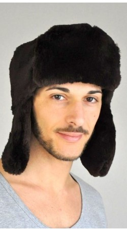 Beaver fur hat russian style - dark brown