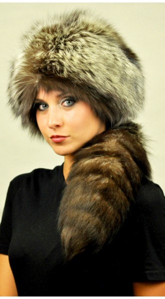 9a34f755198 Silver Fox Fur Hat With Real Tail