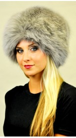 Bluish colour fox fur hat