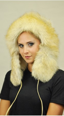 Golden fire fox fur hat Ushanka