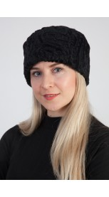Black karakul sheep fur hat