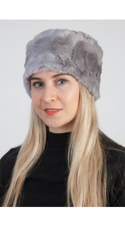 Grey sapphire mink fur hat - Created with mink fur remnants